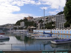 Oriental Bay with St Gerard's Church and Monastery on Mt Victoria. Boat sheds in foreground.