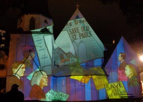 Old St Paul's Church light show
