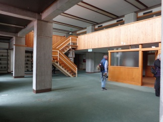 Inside the former library.
