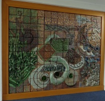 Doreen Blumhardt worked with students to create this mural; located in the entrance foyer