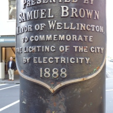 Sign commemorating electricity in city 1888