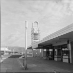 """""""Clock tower on the Naenae Post Office, Lower Hutt,"""" 1960, photographic negatives and prints of the Evening Post and Dominion newspapers, Alexander Turnbull Library"""