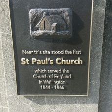 Sign for first St Paul's Church, behind the Beehive in Museum St